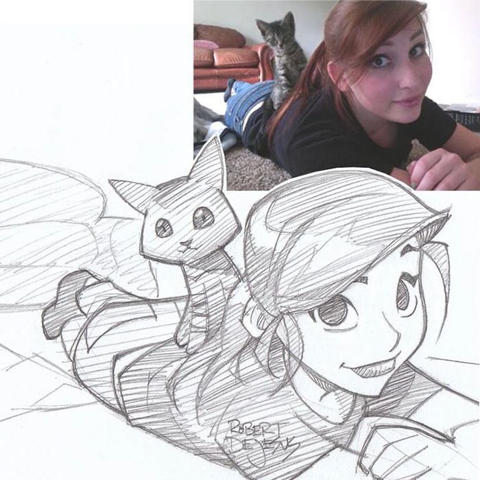Un illustrateur transforme des inconnus en personnages d'animation