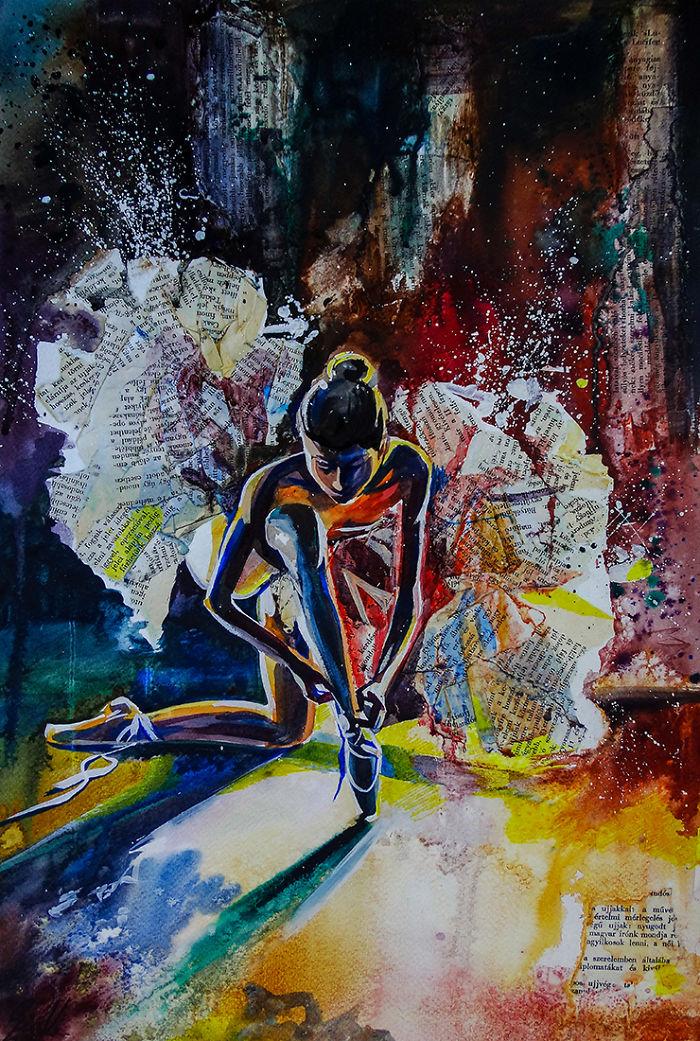 Il représente le sens de la danse de ballet dans ses peintures