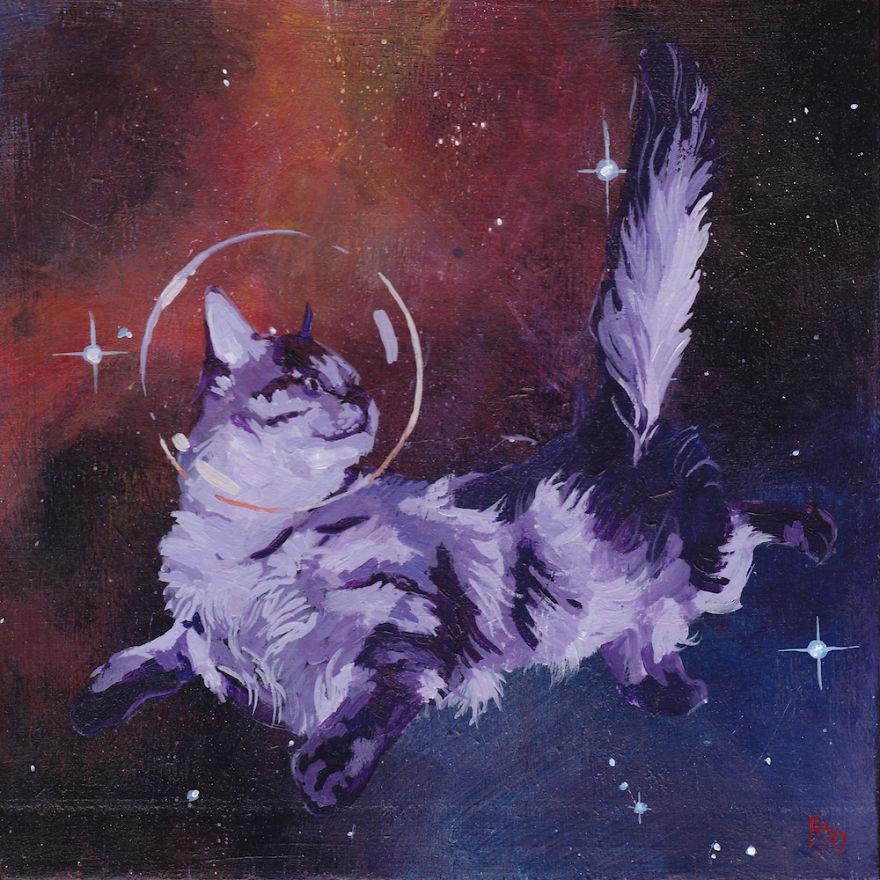 quand il est fatigu de faire de l 39 art s rieux il peint des chats dans l 39 espace. Black Bedroom Furniture Sets. Home Design Ideas