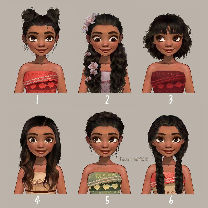 Elle Coiffe Les Princesses Disney Avec Les Styles à La Mode