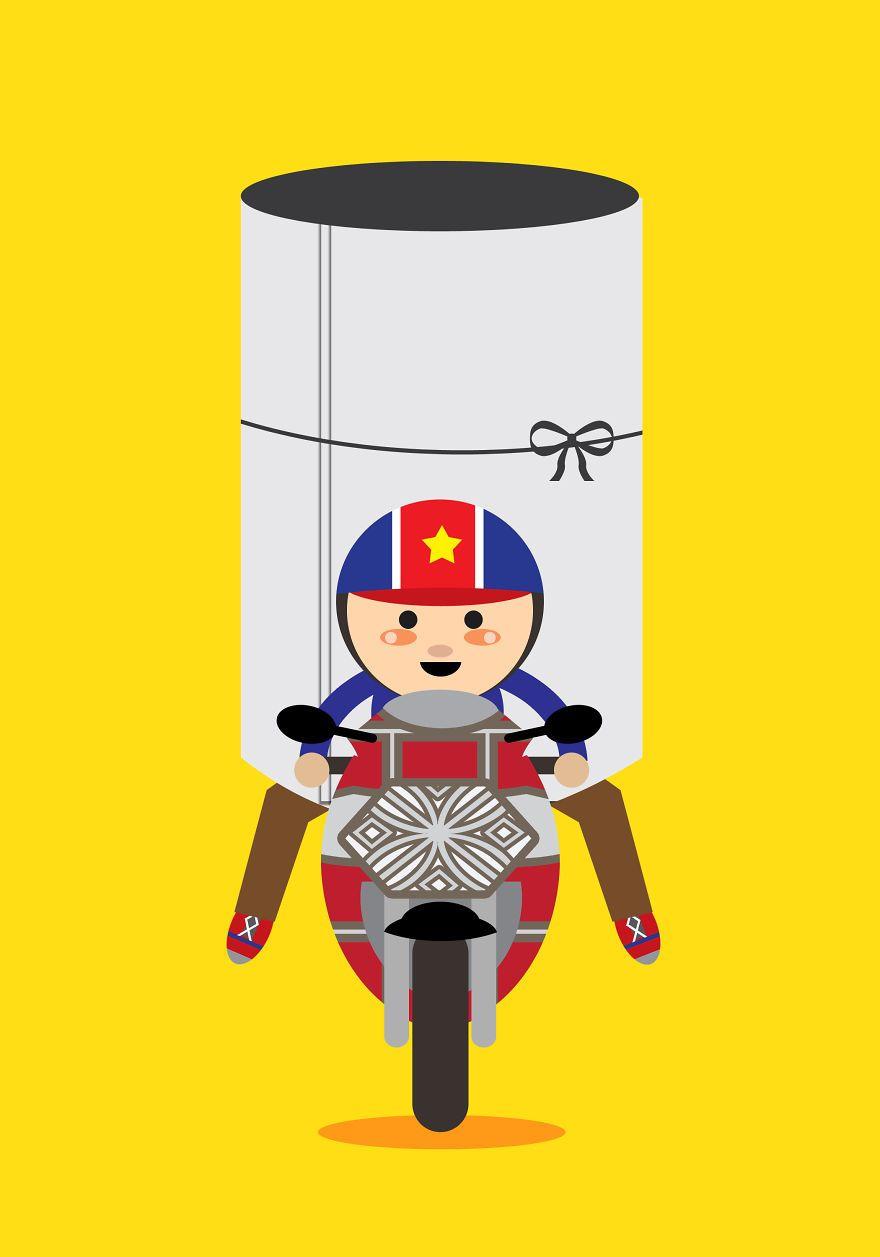 De magnifique illustration de la charge des motos à Hanoï, Viêt Nam