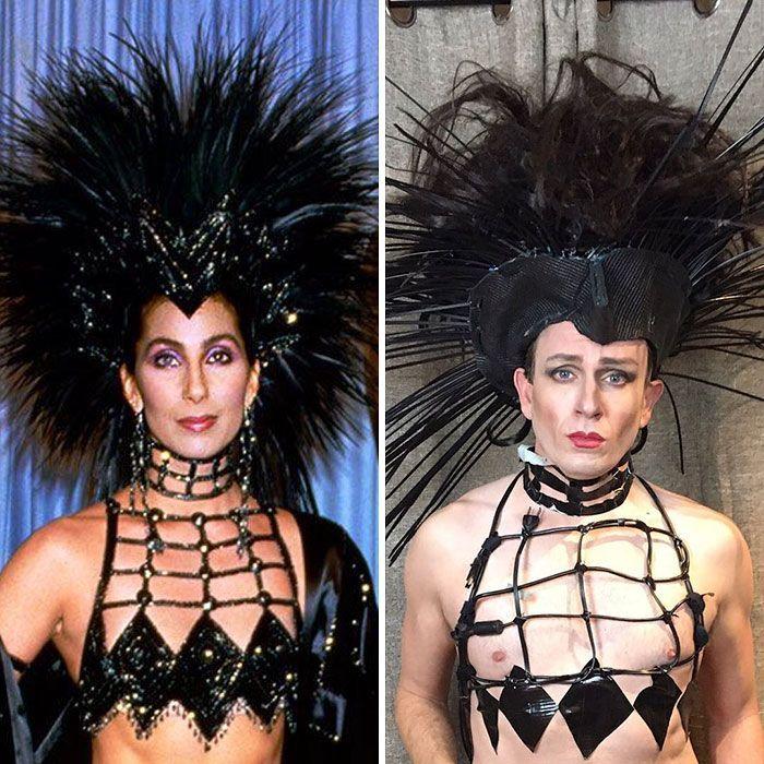 Plus de 30 fois ou les tenues de célébrité ont été recréées par l'ancienne en utilisant seulement des choses trouvées à la maison.