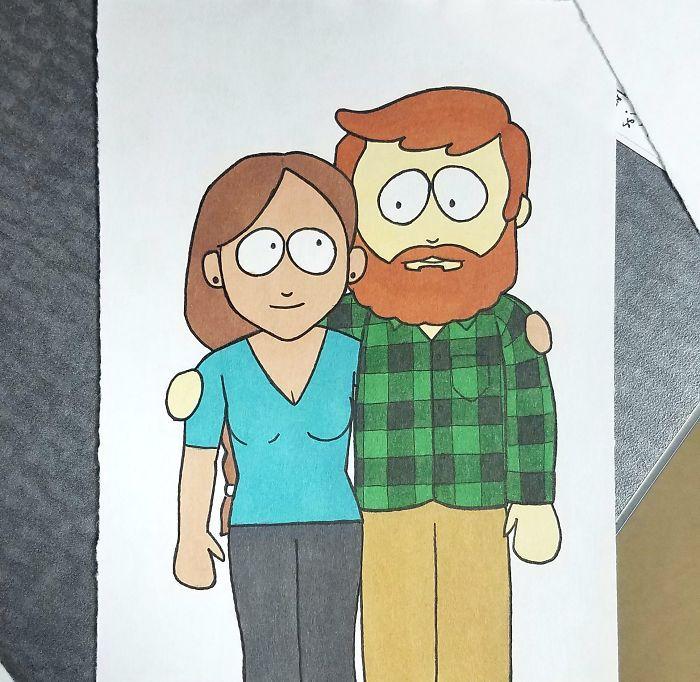 Il dessine sa petite amie dans 10 différents styles de dessins animés pour Noël