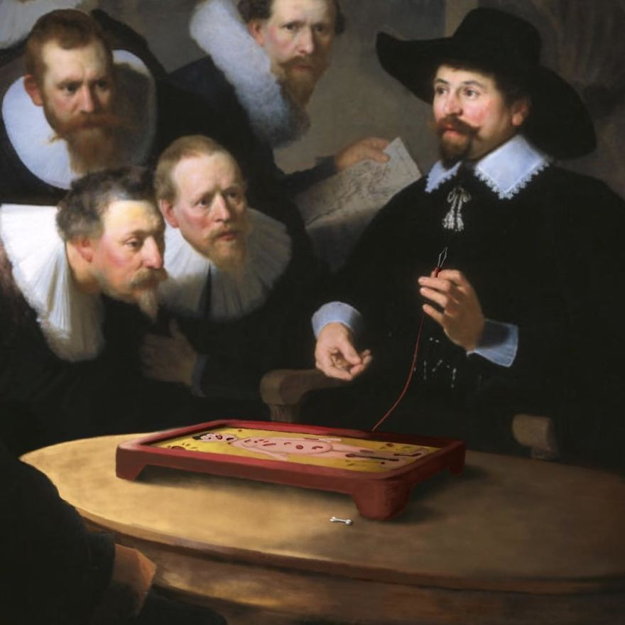 Ce type peint des personnages de la culture populaire dans de vieilles peintures