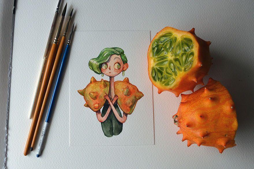 Une illustratrice réinvente les fruits et légumes comme personnages d'aquarelle.