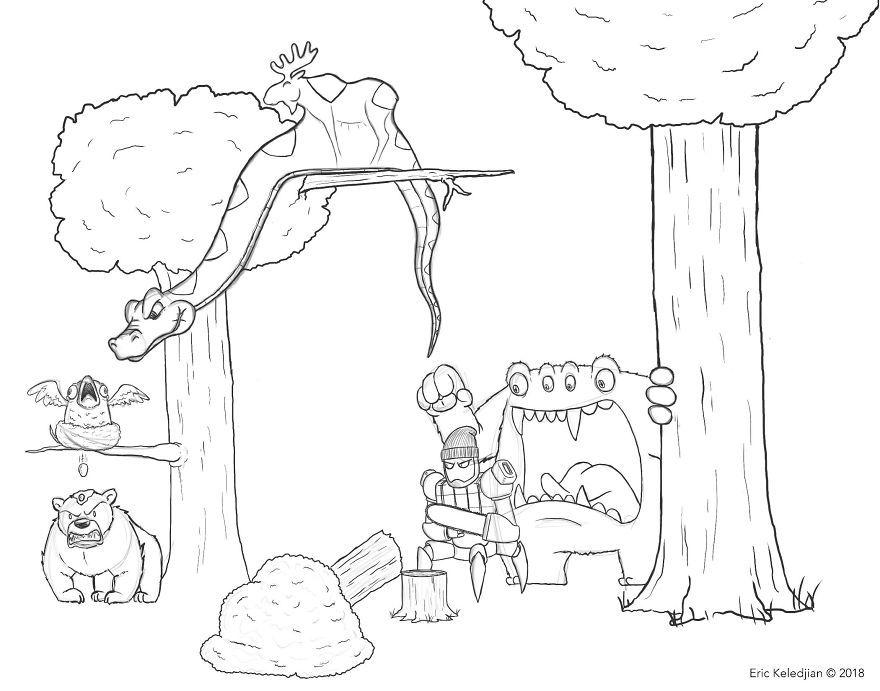 Il se met au défi d'ajouter un personnage par jour à ce dessin d'ours pendant 19 jours