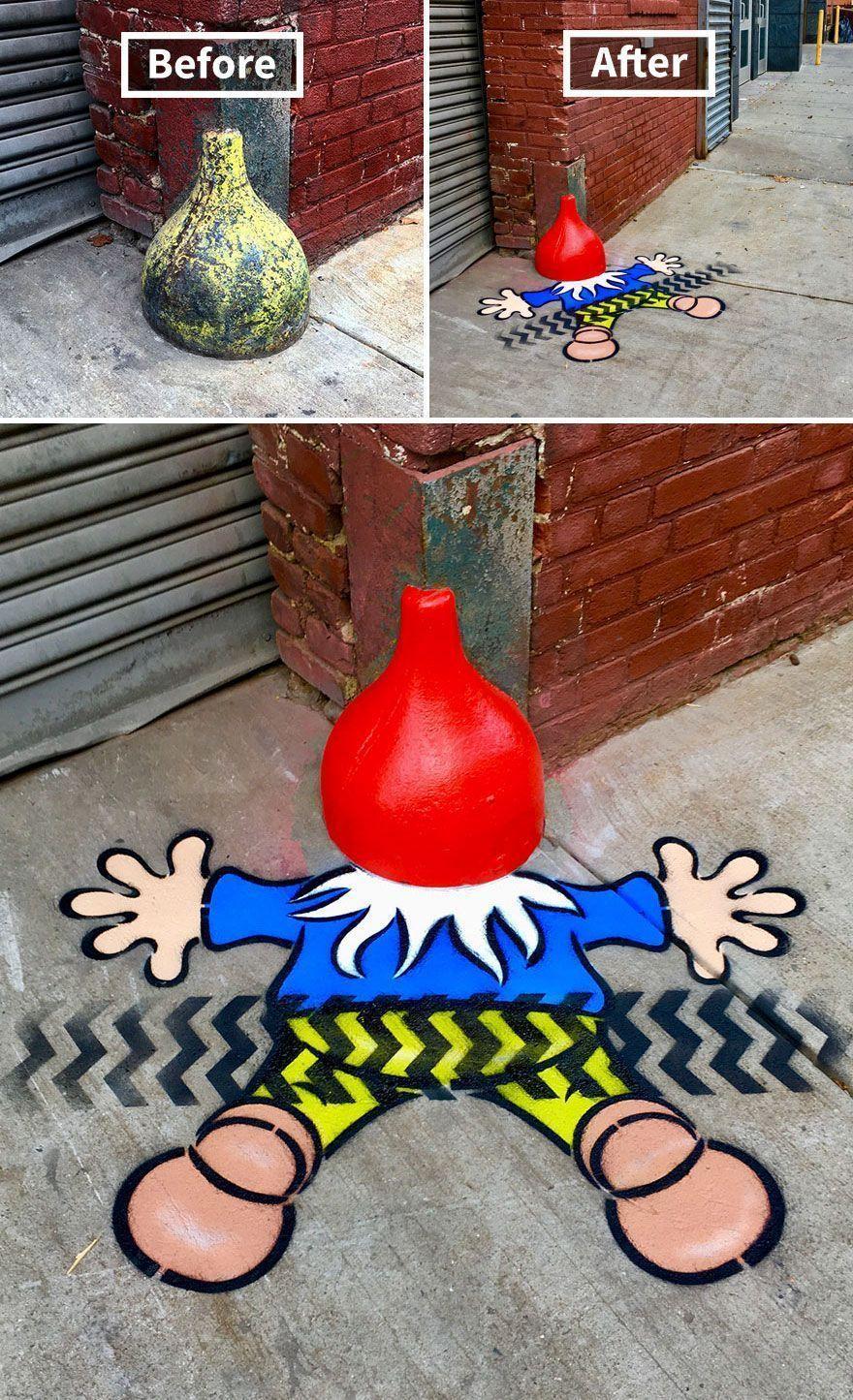 Il y a un artiste de rue génial qui court en liberté dans les rues, espérons que personne ne l'attrape