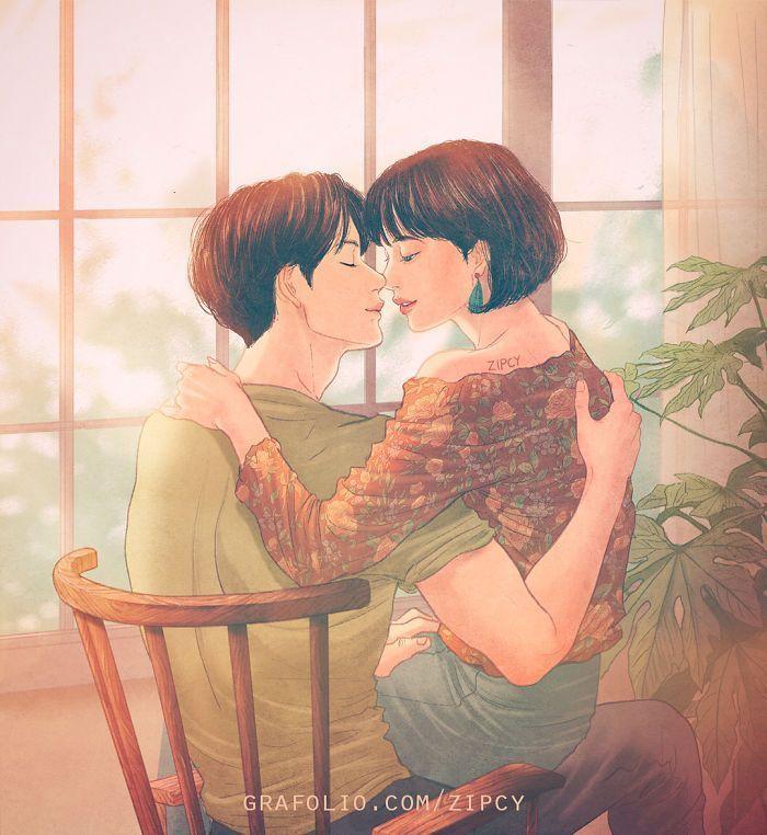 Un illustrateur coréen capture l'amour et l'intimité si bien que vous pouvez presque la ressentir (Partie 2)
