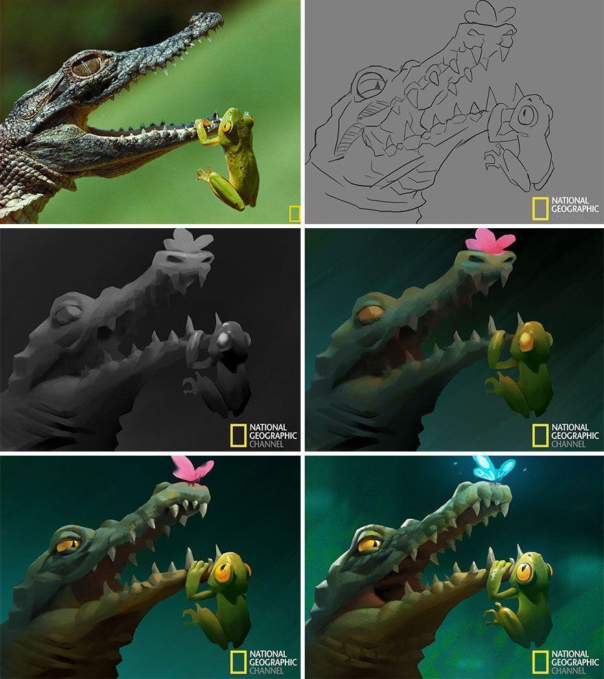 Un artiste transforme les images du National Geographic en illustrations adorables.