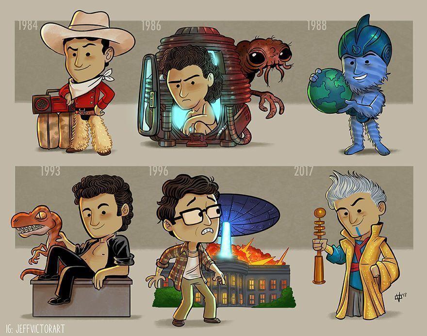 Cet artiste crée des illustrations pour montrer l'évolution des icônes de la culture pop