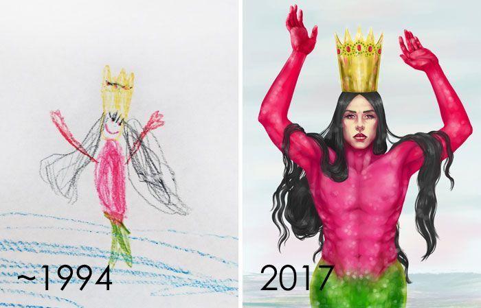 Plus de 56 artistes se lancent le défi de redessiner leurs vieux dessins 'merdiques', prouvant que la pratique aboutie à la perfection