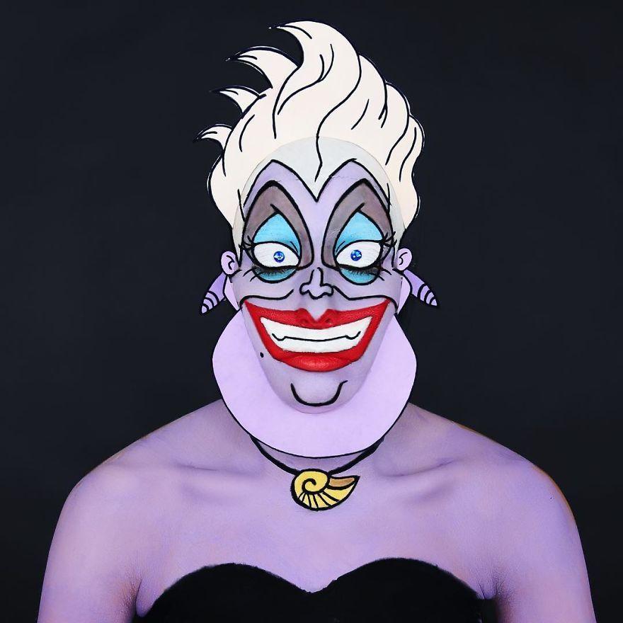 Cette maquilleuse utilise son propre corps comme une toile pour recréer des personnages de dessins animés célèbres