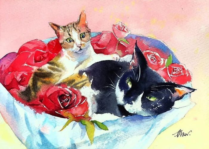 I Show The Perks Of Being A Cat Through My Watercolor Paintings