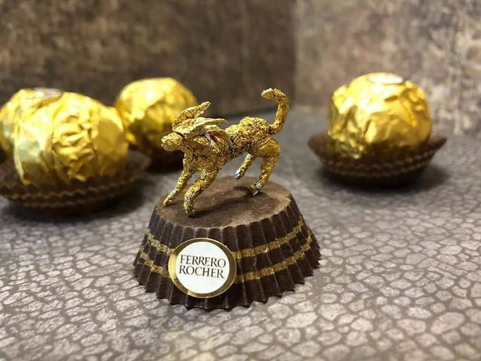 Chinese Artist Turns Ferrero Rocher Packaging Into Tiny Sculptures