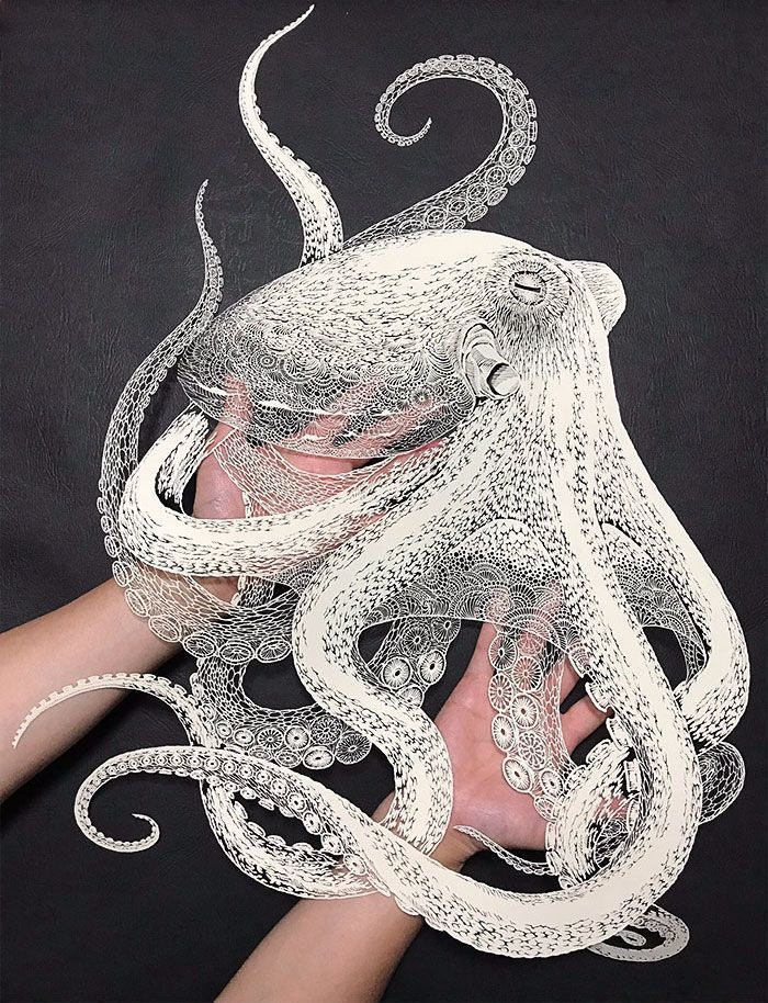 Japanese Artist Hand-Cuts Octopus From A Single Sheet Of Paper, And It's Even More Impressive From Up Close