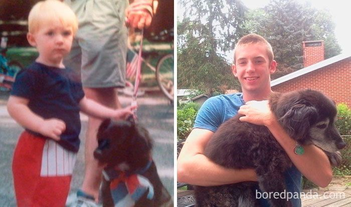 50 Photos Of Dogs Growing Up Next To Their Owners (New Pics)