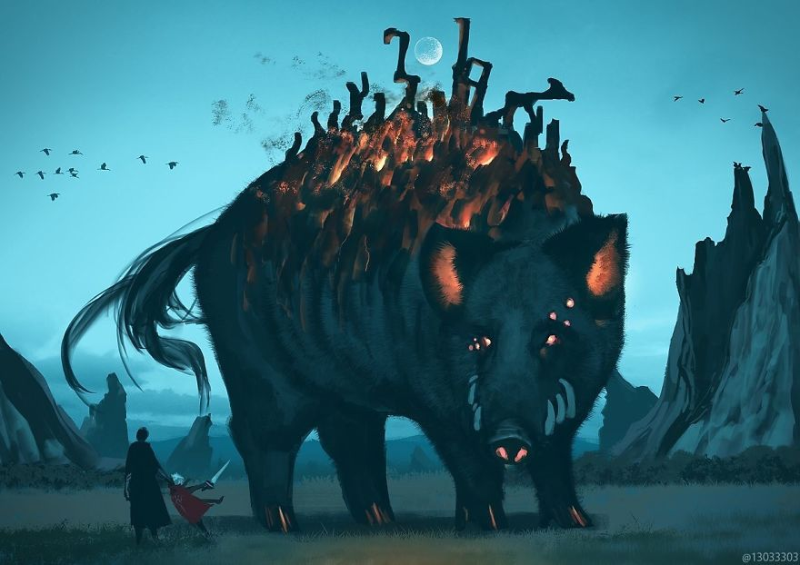 Japanese Illustrator Imagines A World Where Humans Live Among Giant Animals (30 Pics)