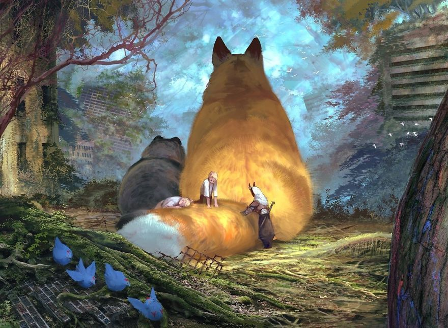 Japanese Illustrator Imagines A World Where Humans Live Among Giant Animals (30 Pics)