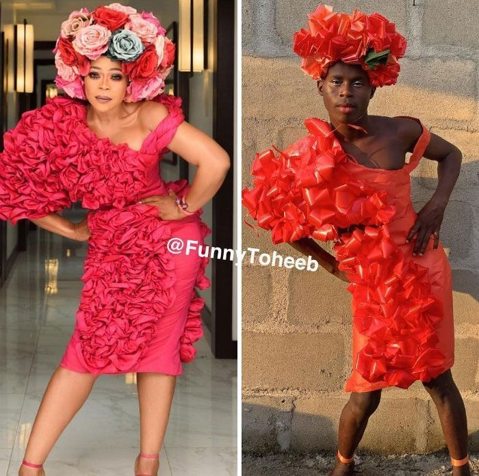 44 Hilarious Low-Cost Recreations Of Ridiculous Celebrity Outfits By Funny Toheeb
