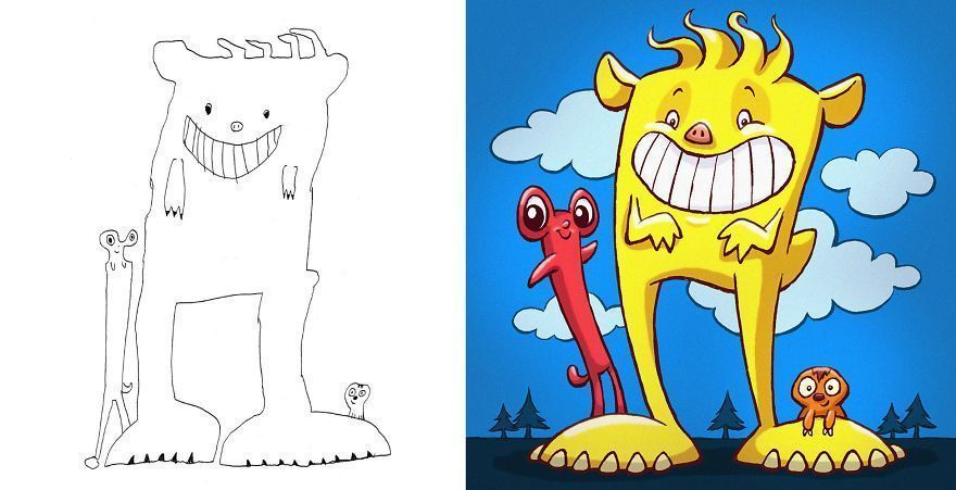 I Invited Artists From All Around The World To Draw Monsters Based on My Kids' Drawings (40 Pics)