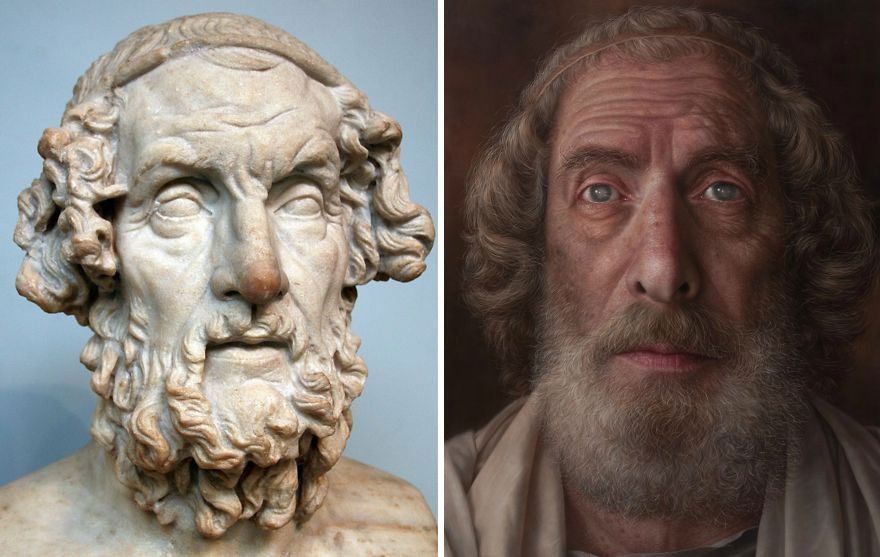 Korean Artist Gives New Life To Busts, Antique Paintings, And Photos By Turning Them Into Hyperrealistic Portraits (9 Pics)