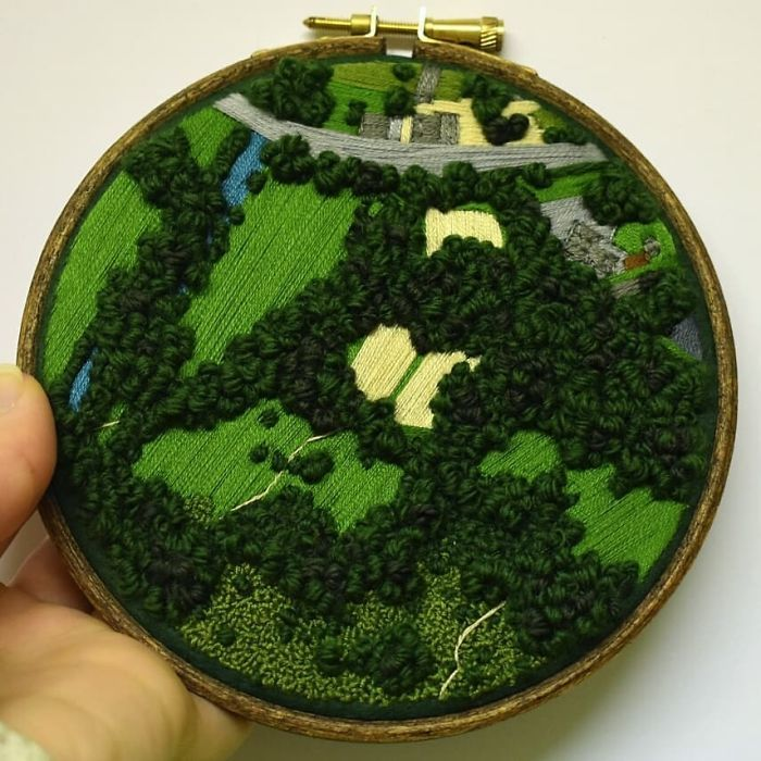 Embroidery Artist Captures Entire Lush Landscapes In These Tiny Embroidery Pieces (40 Pics)