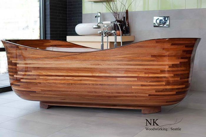 This Woodworker Uses His Background In Shipbuilding To Create Stunning Wooden Bathtubs