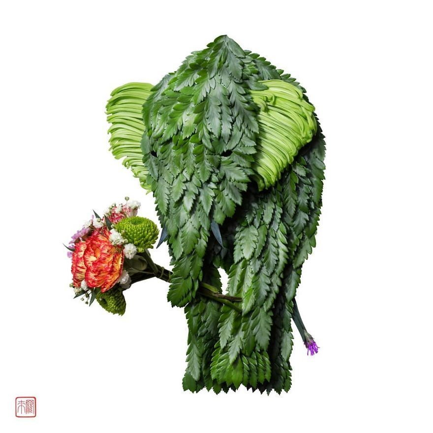 Artist Creates Animal Sculptures From Flower Arrangements (100 Pics)