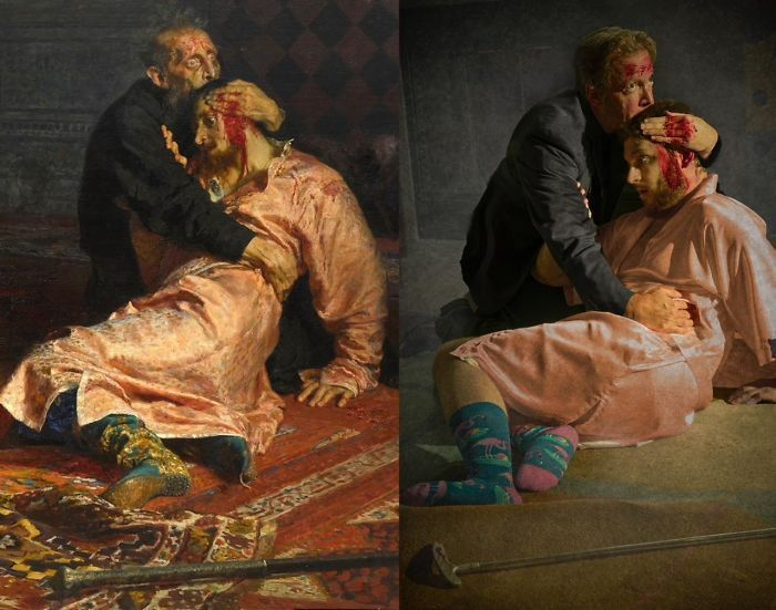 Museums Ask People To Recreate Famous Paintings With Anything They Can Find At Home, Get 76 More Hilarious Pics