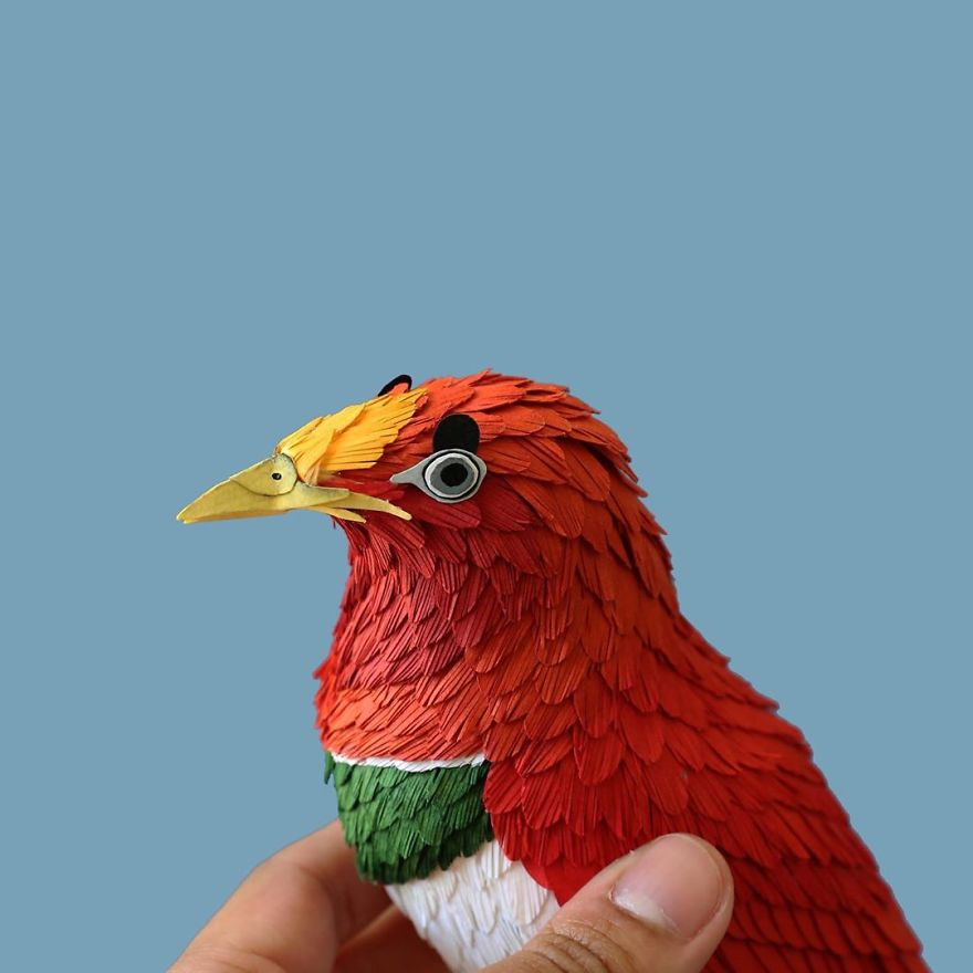 Artist Uses Paper To Recreate Bird Species All Around The World (50 Pics)