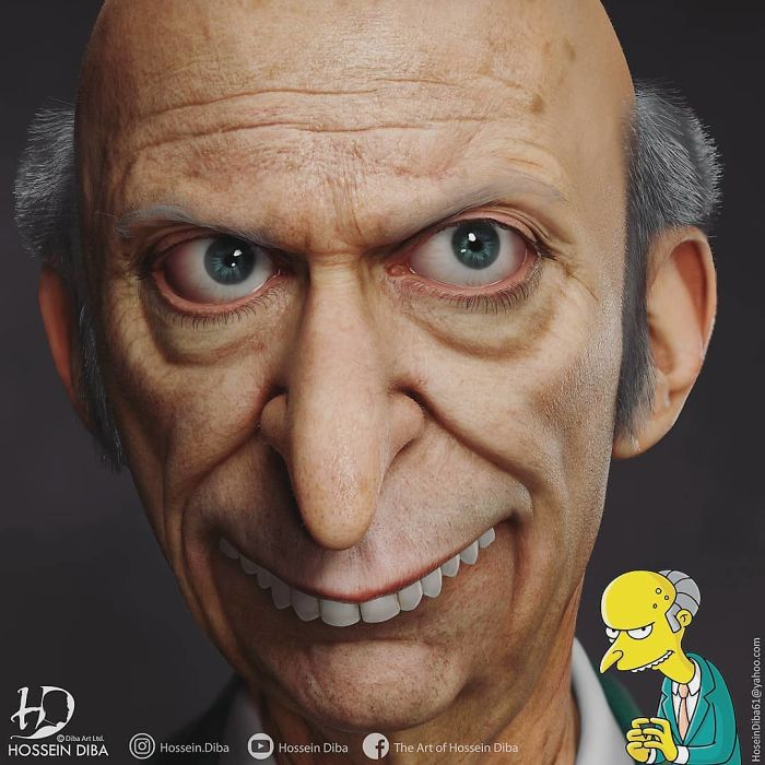Artist Comes Up With Cursed Imagery As He Tries Realistically Recreating 'The Simpsons' Characters