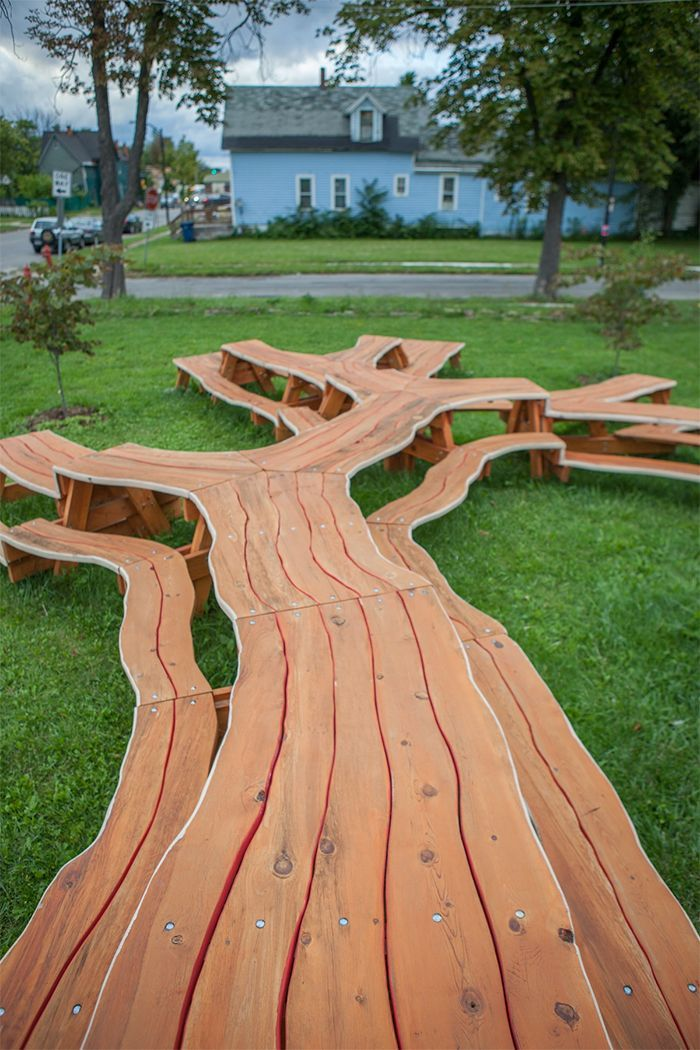 This Artist Created A Mesmerizing Picnic Table That Looks Like A Branching Tree