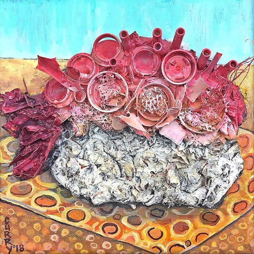 Here Are My 22 Assemblage Paintings That I Created To Bring Awareness To Plastic Waste
