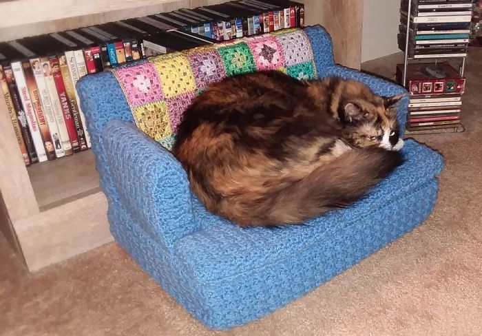 People are Using Their Free Time To Crochet Tiny Couches For Their Cats